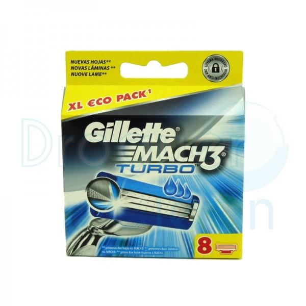 Gillette Mach3 Turbo 8 Cabezal Recambio 8 Uds