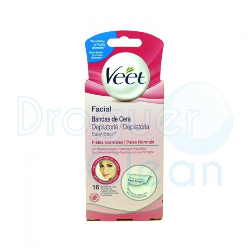 VEET BANDAS DEPILATORIAS FACIAL PIEL NORMAL 16 UDS + 4 TOALLITAS