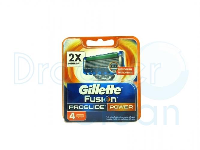 GILLETTE FUSION PROGLIDE POWER MICROPEINE CARGADOR 4 UDS
