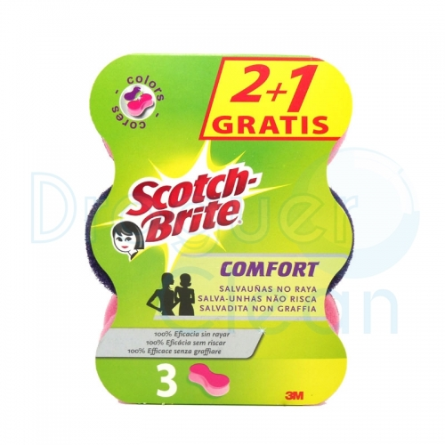 SCOTCH-BRITE COMFORT SALVAUÑAS NO RAYA COLORES 2+1