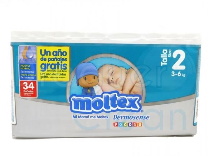 MOLTEX DERMOSENSE TALLA 2, 3/6 KG 34 SERVICIOS