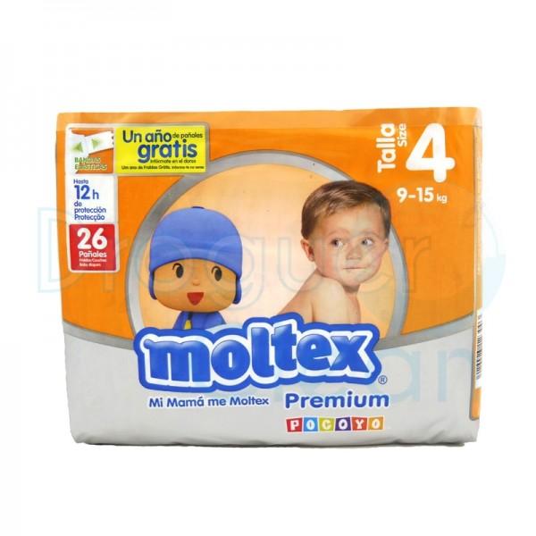 Moltex Pañal Premium Talla 4, 9/15 Kg 26 Servicios