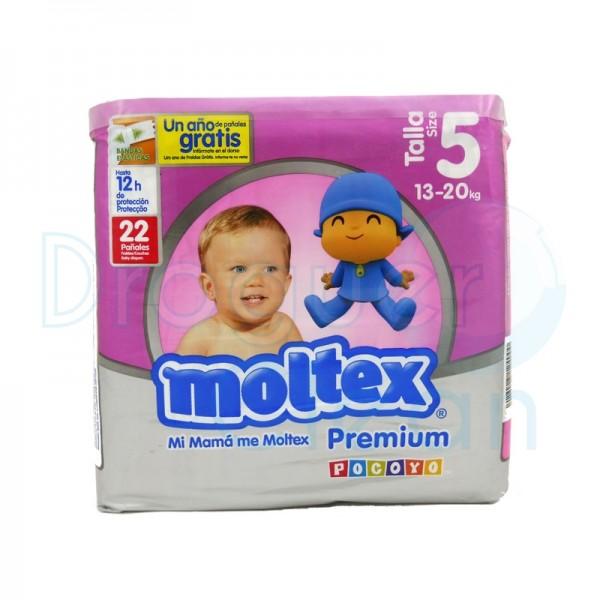 Moltex Pañal Premium Talla 5, 13/20 Kg 22 Servicios