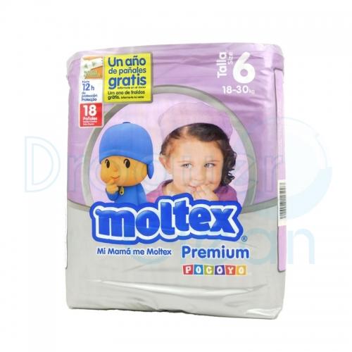 MOLTEX PAÑALES PREMIUM TALLA 6, 18/30 KG 18 SERVICIOS