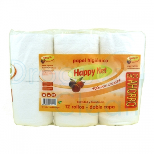 HAPPY NET PAPEL HIGIENICO BLANCO 12 ROLLOS