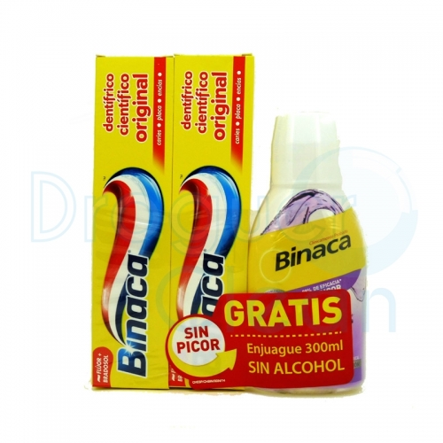 Binaca Pasta De Dientes Amarilla 75 Ml Duplo + Enjuague 300 Ml