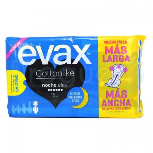 Evax Cotton Like Compresas Noche Alas 18 Servicios