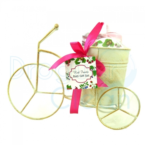 BICICLETA FRUTOS ROJOS DECORATIVA GEL DE DUCHA, BODY MILK Y EXFOLIANTE