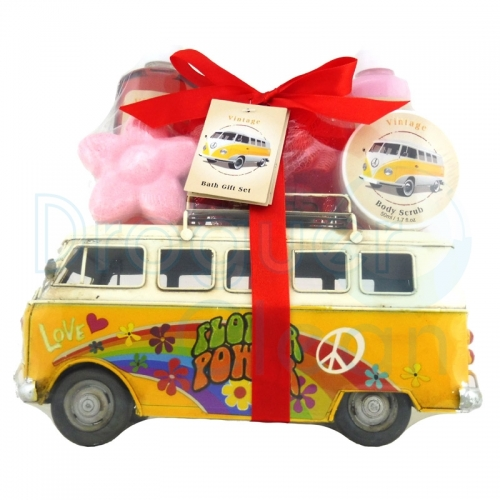 BUS VINTAGE DECORATIVO GEL DE DUCHA, BODY MILK, EXFOLIANTE, JABON Y ESPONJA