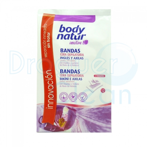 BODY NATUR BANDAS DEPILATORIAS INGLES Y AXILAS SENSITIVE PIEL SENSIBLE 12 UDS