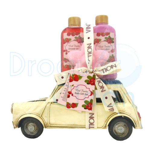 COCHE MINI VINTAGE DECORATIVO GEL DE DUCHA, BODY MILK Y JABON