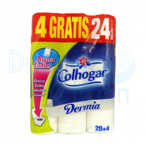 Colhogar Papel Higiénico Dermia Aqua Tube 20 + 4 Rollos