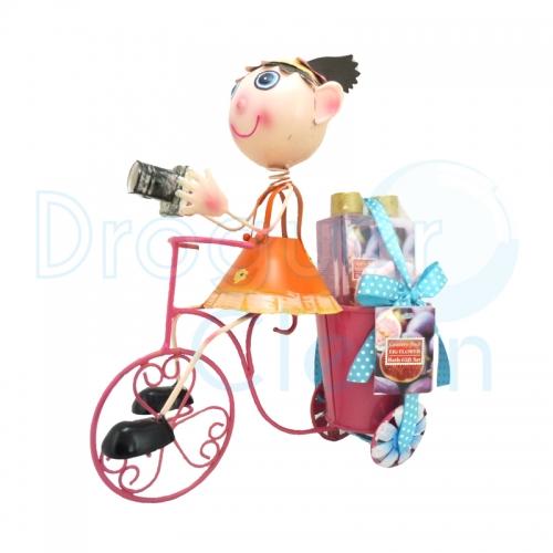 Bicicleta Niña Frutos Rojos Decorativa Gel De Ducha, Body Milk Y Esponja