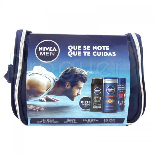 Nivea Men Neceser Gym Pack Champú, Gel De Ducha, Desorodante Y Crema
