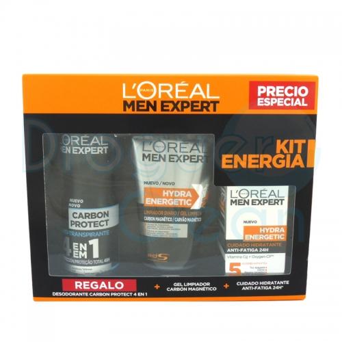 Loreal Men Expert Crema Anti-Fatiga + Gel Limpiador Carbón + Desodorante Carbón