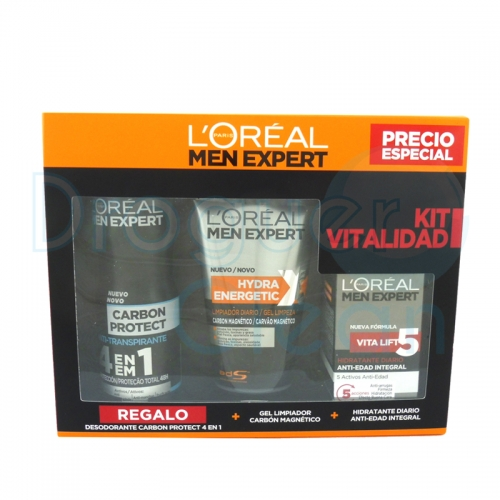 Loreal Men Expert Crema Anti-Edad + Gel Limpiador Carbón + Desodorante Carbón