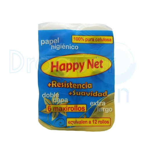 Happy Net Papel Higiénico Blanco Maxi 6 Rollos